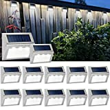 Solar Powered Deck Lights Wireless Bright LED Stair Lights Waterproof Stainless...