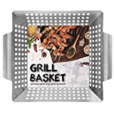 Ranphykx Vegetable Grill Basket - BBQ Grilling Basket (Large 12'x12'x3') for Veggies, Kabobs, Seafood, Meats - Stainless Steel