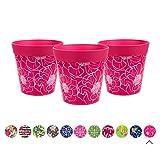 Juego de 3 macetas coloridas de Hum Flowerpots, Pink Flower
