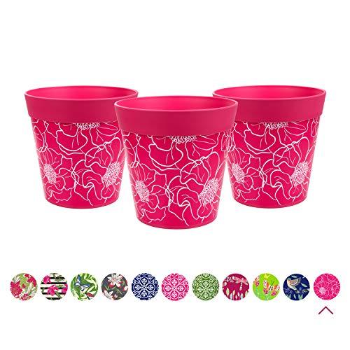 Hum Flowerpots Ensemble de 3 pots de fleurs colorés fleurs roses