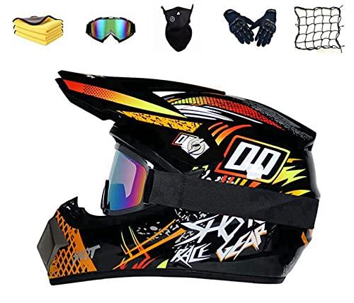 DOT-Zertifizierung Integral-Motocrosshelm Kinder Motorrad Crosshelm Motocross Helm Set mit Visier Brille Handschuhe Maske Unisex Fullface MTB Downhill Motorrad Schutzhelm (M)
