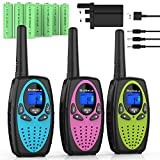 Bobela Walkie Talkies Rechargeable for Kids With Charger Battery, Easy to Use Fun Toys Birthday Gift for 3-12 Year old Girls Boys Adults Family,3KM Long Distance for Camping Hiking Adventures