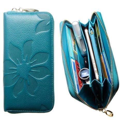 CellularOutfitter Leather Clutch/Wallet Case - Embossed Flower Design w/Multiple Card Slots and Compartments - Teal Blue
