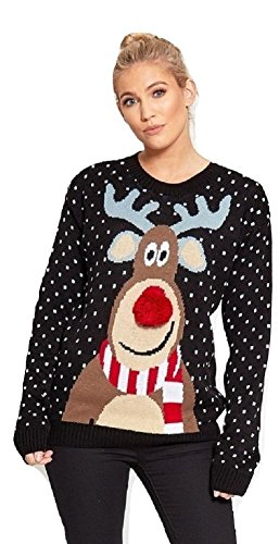 Momo&Ayat Fashions Ladies Rudolf Pom Pom Knitted Christmas Jumper UK Size 8-18 (Black, S/M (UK 8-10))