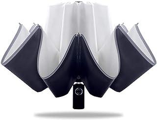 Umbrella Windproof Umbrella Folding Fully Automatic Folding Dual Purpose Inverted Reverse (Color : Pink)