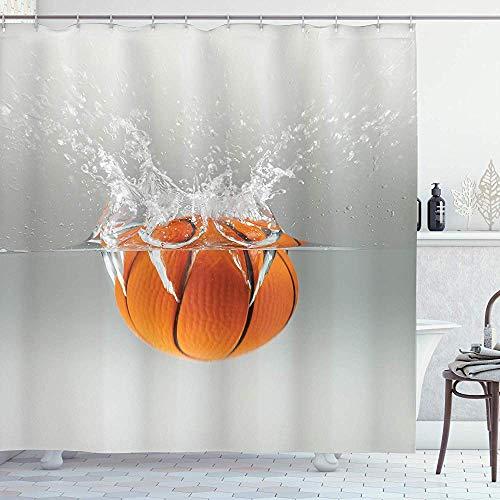 wobuzhidaoshamingzi Sport Douche Gordijn, Vallen Basketbal In Water Vrije tijd Nationale Sport Activiteit Vermakelijk Beeld Grijs
