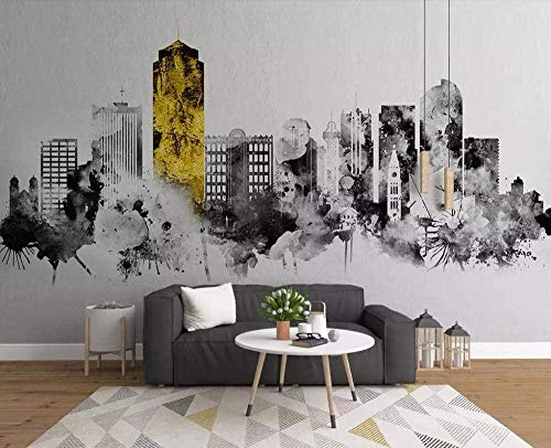 XHXI Nordic Minimalist Abstract Ink City Wallpapers 3D Non-Woven Wallpaper Modern Wall Pictures Wall Decoration 3D Wallpaper Living Room The Wall for Bedroom Mural border-300cm×210cm