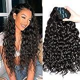 Remy Human Hair Weave Bundles Water Wave Hair MSGEM Unprocessed Virgin Brazilian Hair 3 Bundles 20 22 24 inch Wet and Wavy Human Hair Natural Black Color