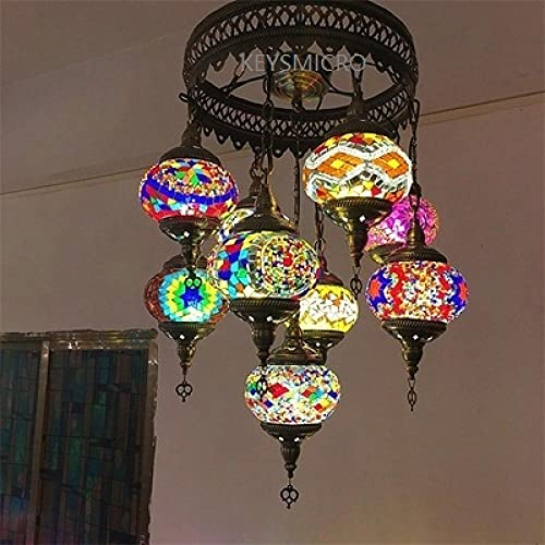 Pendant Lamp with Turkish Glass Mosaic of 9 Heads Vintage Style Art Deco Handmade Mosaic Table Lamp Romantic Light Multicolor