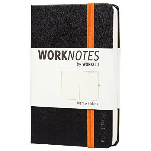 Worknotes Notizbuch a6 blanko - Das Notizbuch für Kreative und Macher von Workflo, 192 perforierte Seiten, 100g/qm, Hardcover, schwarz