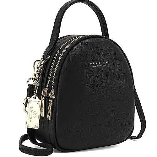 WANYIG Frauen Mini Rucksack Kleine Handy Schultertasche Damen PU Leder Daypack Tasche Umhängetasche Schulrucksäcke Handtasche Mini Casual Daypacks(Schwarz)