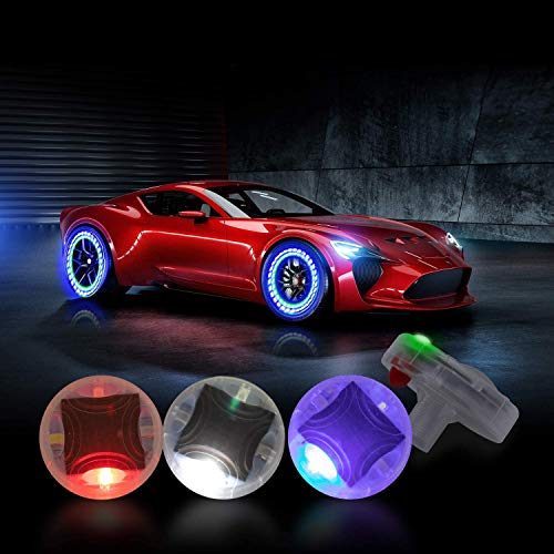 CoCsmart Car Tire Wheel Lights, 4pcs Car Wheel Tire Air Valve, Hub Lamp Cap Light with Motion Sensors Colorful LED Tire Light Gas Nozzle,for Car Bicycle Motorcycles Accessories