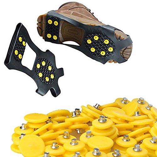 Jiayuane 100 PCS 10 dents Anti-dérapant Ice Grips Marchez les crampons de traction Pics de glace de neige pour la sécurité d'hiver