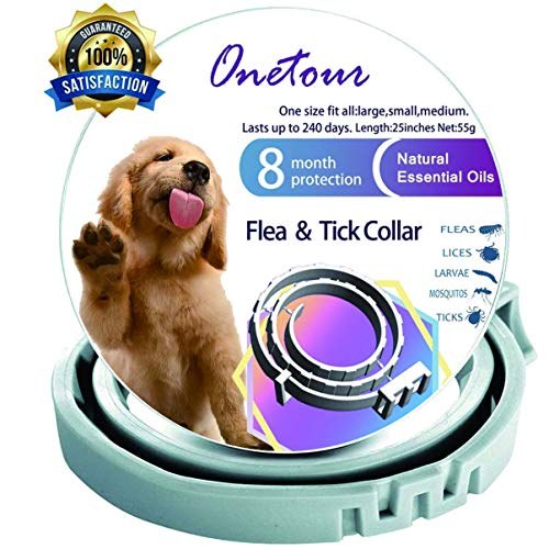 Flea and Tick Collar for Dogs – Enhanced with Natural Essential Oils – 8 Months Protection – Safe & Allergy Free – Adjustable & Waterproof – Repels Fleas Ticks Mosquitos – One Size Fits All