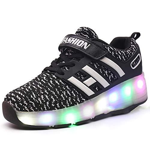 Zapatos con Ruedas LED para niños, Patines Luminosos Intermitentes de una Sola Rueda Zapatos de polea Unisex Zapatillas de Gimnasia al Aire Libre Zapatos técnicos de skate-black-33EU