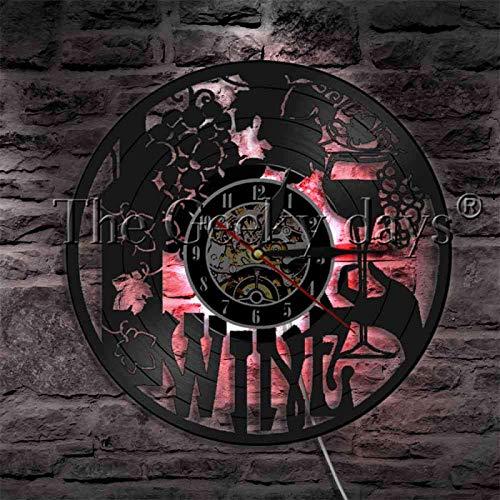 ROMK Reloj de Pared Pub Bar Bebida de Vino Disco de Vinilo Reloj de Pared Copa de Vino Botella de Cerveza Bebida Iluminación Decorativa con luz de Pared Vintage Que Cambia de Color
