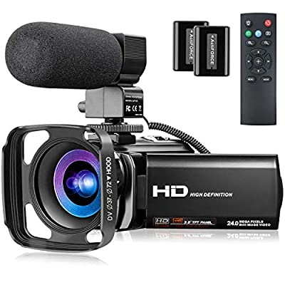 Video Camera with Microphone, FHD 1080P 30FPS 24MP Camcorder YouTube Vlogging Cameras 16X Digital Zoom 3.0 Inch 270° Rotation Screen Webcam Video Camera Recorder with Hood, Remote and 2 Batteries from MELCAM