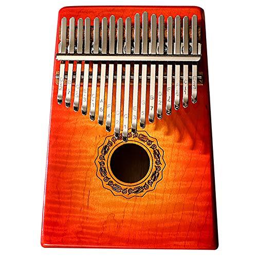 Kalimba Daumenklavier 17 Tasten Massivholz Für Musikliebhaber Finger Klavier Musikinstrument, C Schlüsseldaumenklavier Marimbas Instrument Finger Klavier (18cm X 14c Gradient red
