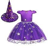 OBEEII Halloween Costume Disfraz de Bruja para Bebé Niñas Estrelle Princesa Vestido con Sombrero Bruja 2Piezas Outfit Morado 6-12 Meses