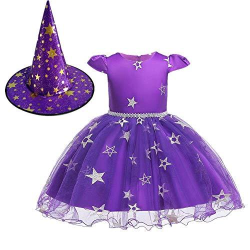 OwlFay Costume da Strega per Bambina Vestito Halloween con Cappello di Strega Costume 2Pezzi Outfit Viola 3-4 Anni