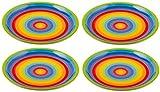 Handbemalter Teller aus Keramik mit Streifen in Regenbogenfarben, 21 cm, mittelgroß, 4er Set