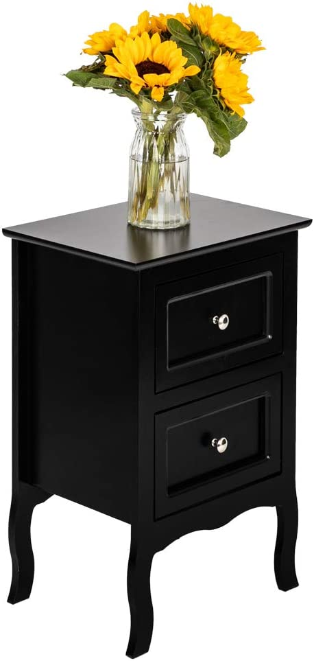 Nightstand with Two Storage Drawer, Large Size Wooden Bedside 2-Tier End Table Accent Table Modern Country Home Furniture for Living Room Bedroom, Black