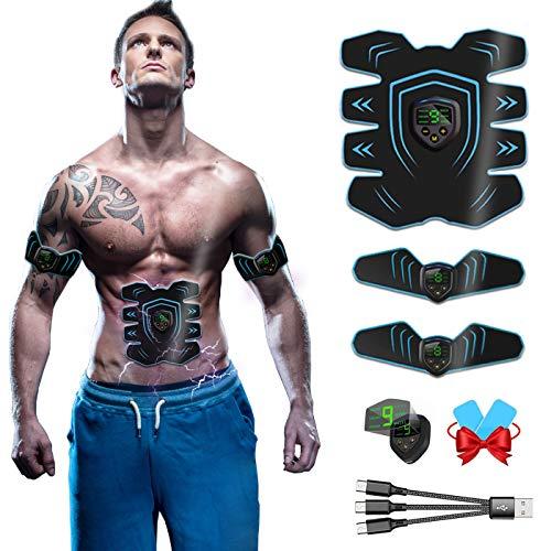 Electroestimulador Muscular Abdominales, USB Recargable EMS Estimulador Muscular Abdominales para Abdomen/Cintura/Pierna/Brazo/Glúteos
