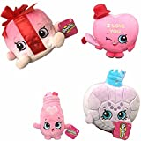 Shopkins Candy Kisses, Sara Sweet Hearts, Princess Scent & Miss Pressy Plush 4 Piece Set - Valentine's Limited Release