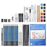 ATARSM Juego de lápices de arte-55 unids/Set Kit de lápiz de Dibujo de Dibujo Profesional Que Incluye Herramientas de Pintura de Dibujo artístico de Acuarela sólida