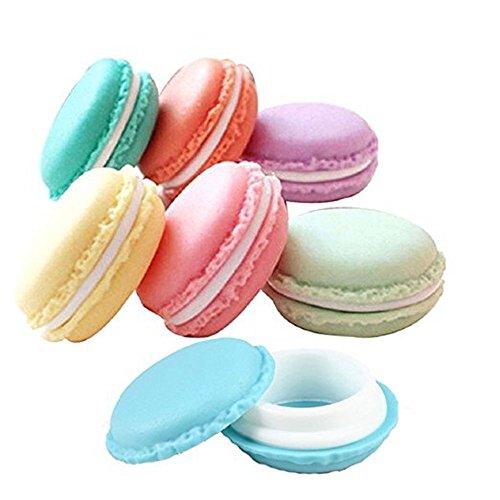 Naisicatar Mini-Makronen-Kosmetik-Schmuck-Aufbewahrungsbox, Reise-Ohrring-Organizer, Behälter in zufälligen Farben, 6 Stück