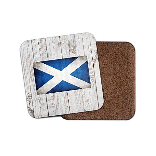 Schottische Flagge mit Unterseite aus Kork Getränke Untersetzer für Tee & Kaffee # 0027, holz, 2 Coaster