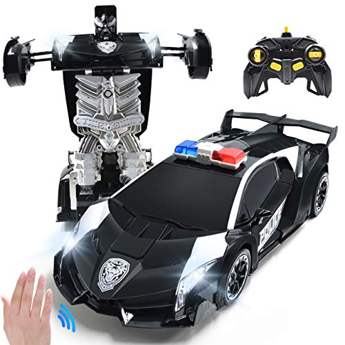 RC Car for Kids Transform Car Robot, Remote Control Super Car Toys with Gesture Sensing One-Button Deformation and 360°Rotating Drifting Light Music 1:14 Scale , Best Gifts for Boys Girls (Black)