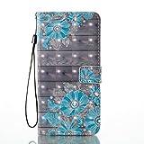 SEYCPHE Funda para iPhone 8 Plus, 3D Moda Carcasa Libro Flip Case Antigolpes Cartera PU Cuero Funda con Soporte para Apple iPhone 8 Plus - Flor Azul