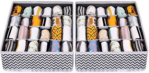 Joyoldelf 2 Stück Aufbewahrungsboxen für Unterwäsche und andere kleine Zubehörteile,24 Zellen Faltbare Schubladenunterteilungen zum Aufbewahren von Socken,Schals,Büstenhalter(Wellenmuster)