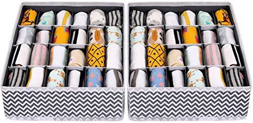 Joyoldelf 2 Stück Aufbewahrungsboxen für Unterwäsche und andere kleine Zubehörteile,24 Zellen Faltbare Schubladenunterteilungen zum Aufbewahren von Socken,Schals,Büstenhalter (Wellenmuster)