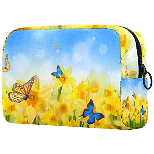 Cosmetic Bag Womens Waterproof Makeup Bag for Travel to Carry Cosmetics Change Keys etc Yellow Daffodils Butterflies