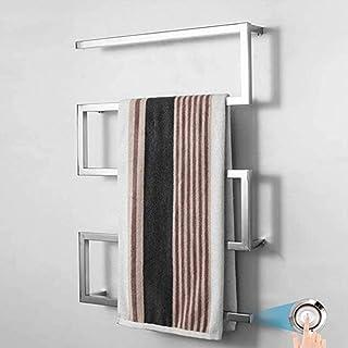 LWSS Toallero eléctrico Curvo para toallero, Toallero calentado para baño 304 Toallero Inoxidable para baño Calentador Radiador Estante Calefacción Central 800 x 600 mm,Hardwired