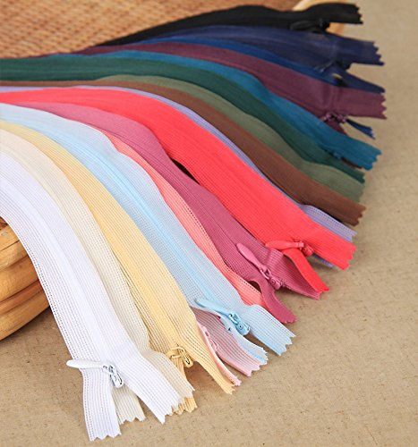 Famixyal 50 Pcs Lace Invisible Zipper 3# 16'' Multiple Colors Clothing Zippers 16 inch Nylon Zipper Net Length 40cm Nylon Coil Closed End Zippers for Bag Dress Tailor Sewing Tools Craft DIY Zipper