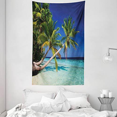 ABAKUHAUS Landschaft Wandteppich, Tropic Botanic Sandy Beach Island mit Kokosnuss Palmen Seaside Print, aus Weiches Mikrofaser Stoff Wand Dekoration Für Schlafzimmer, 140 x 230 cm, Aqua Blau Grün
