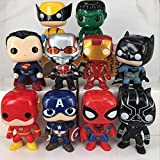 YUNNING Juguetes Vengadores 10pcs / Set 10cm Los Vengadores 2 Hawkeye Capitán América Thor Batman Ironman Figura De Acción Juguetes Regalos para Niño