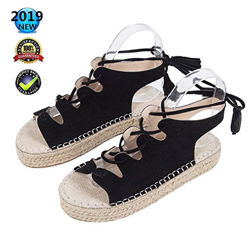 Sandals Peep Toe espadrilles High Wedges wighak plateau dames zomer elegant enkelriem gesp wigsandalen plat leer comfortabele casual schoenen, 3 cm hoge hak zwart