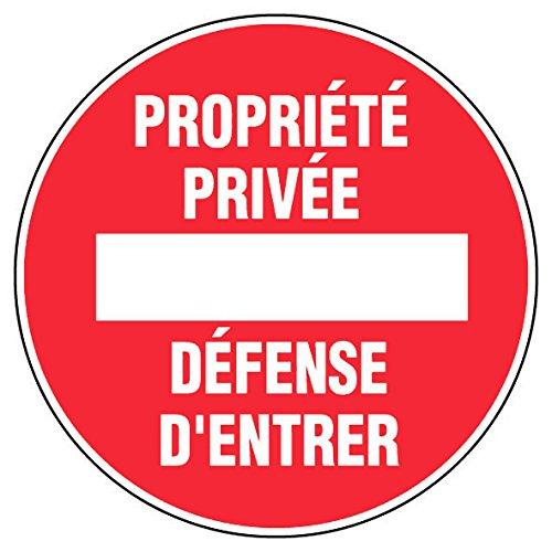 Novap 4040196 Panneau Blanc/rouge propriété privée-défense d'entrer diamètre 180 mm