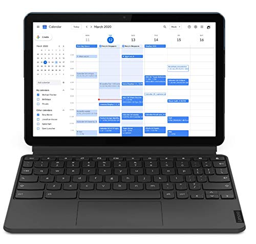 Lenovo IdeaPad Duet Chromebook Tablet, Display 10.1'' Full HD, Processore MediaTek P60T, Storage 128GB, RAM 4GB, Wi-Fi+Bluetooth, ChromeOS, Lenovo Keyboard, Blu ghiaccio/Grigio ferro