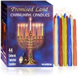 Promised Land Premium Hanukkah Candles (44 Count Box, Assorted Colors) Enough Candles for 8 Days of Chanukah, Fits Most Standard Menorahs