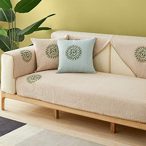 Europeiskt linne överkast soffa överkast halkskydd sofföverdrag för hörnsoffa broderi sofahusse hel säsong husdjur soffa överdrag tvättbar – e 90 x 210 cm (35 x 83 tum)
