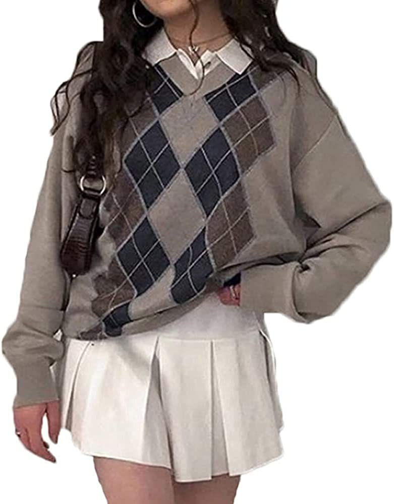 Womens Girls Sweater Y2K Argyle Knit trend rank Preppy Max 84% OFF B Tops Color