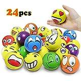 VCOSTORE Emoji Stress Ball, 24 Stücke lustiges Gesicht Squeeze Bouncy Ball Bunte weiche...