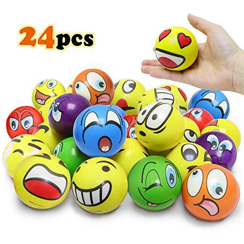 VCOSTORE Emoji Stress Ball, 24 Stücke lustiges Gesicht Squeeze Bouncy Ball Bunte weiche Druckentlastung Ball (gemischt Ver)