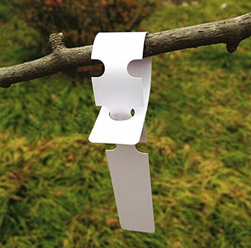 KINGLAKE 200 Pcs White Plastic Plant Tree Tags Nursery Garden Lables 2x20cm Wrap Around Hanging Tags Nursery Garden Stakes Large Writing Surface