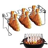 iTimo - Asador plegable de acero inoxidable para costillas y pollo, antiadherente